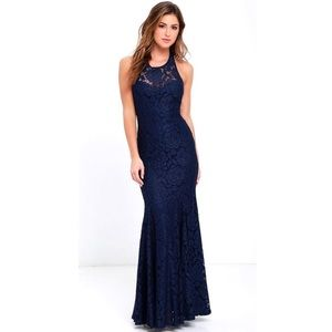 EUC Lulus navy lace halter sweetheart maxi dress M